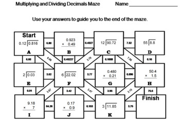 Multiplying and Dividing Decimals: Math Maze by Science