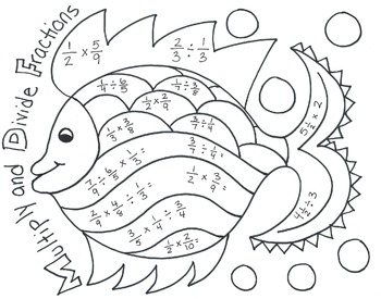 Multiplying and Dividing Fractions Fish Coloring Page by