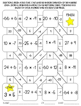 Multiplying and Dividing Integers Maze Activity by Sixth
