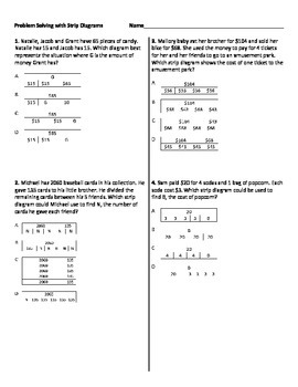 Multistep Word Problems with Strip Diagrams Worksheet by