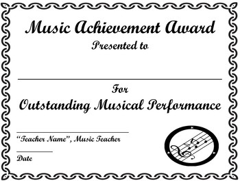 End of Year Music Achievement Award, Certificate Template