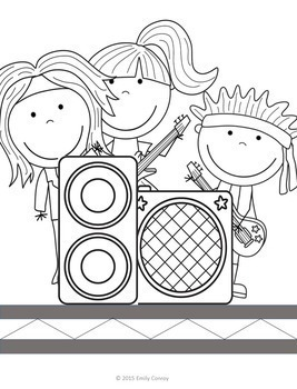 Music Coloring Sheets Bundled (Music Genres Review) by
