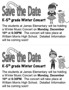 Elementary Music Christmas Concert #1: Program, letters