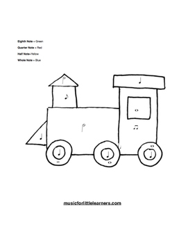 Music Rhythm Coloring Worksheet Train by Music For Little
