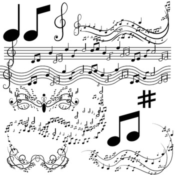 Music notes clipart, musical clip art by Digital Designs