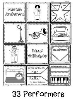 Musician & Performer Quilt Worksheets/Blocks for Black