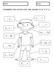 worksheet body parts worksheets kindergarten grade teacherspayteachers anatomy science pe homework subject writing salvat vandut produs