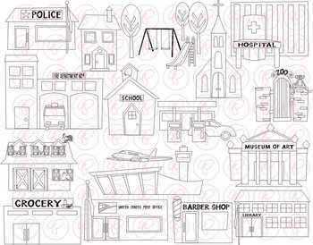 My Community Buildings Clipart by Poppydreamz by