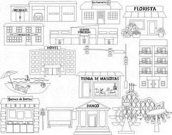 My Community Buildings Set 02 IN SPANISH Clipart by