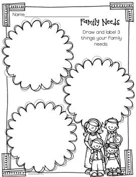 My Family and Me (a mini-unit about families and needs and