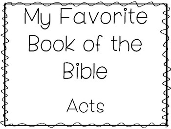 My Favorite Book of the Bible-Acts Tracing Worksheets and