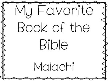 My Favorite Book of the Bible-Malachi Tracing Worksheets