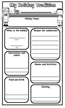 My Holiday Tradition Graphic Organizer and Presentation