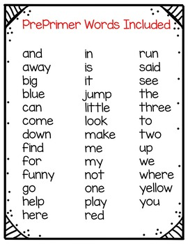 My Super Sight Words Worksheets (PrePrimer Words) by Judy