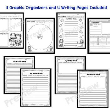 My Winter Break Writing Prompt with Word Wall Cards