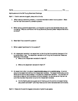 Mytbusters Young Scientists Challenge Scientific Method Worksheet by ...