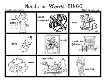 NEEDS and WANTS BINGO Game! Social Studies for