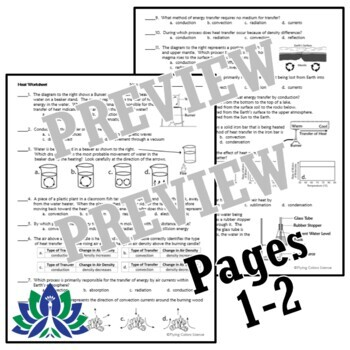 NGSS Thermal Energy Heat Transfer Worksheet Conduction