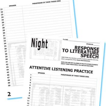 NIGHT Essay Prompts & Grading Rubrics (by Elie Wiesel) by