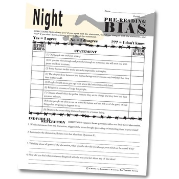 NIGHT PreReading Bias (by Wiesel) by Created for Learning