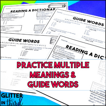 Dictionary Skills Worksheets & Printables by Glitter in