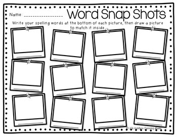 Spelling Activity Worksheets by Katelyn's Learning Studio