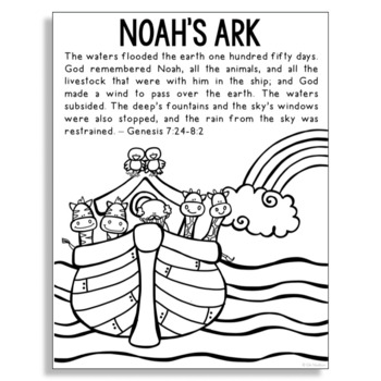 Noah S Ark Bible Story Coloring Page Easy Religious Craft Activity