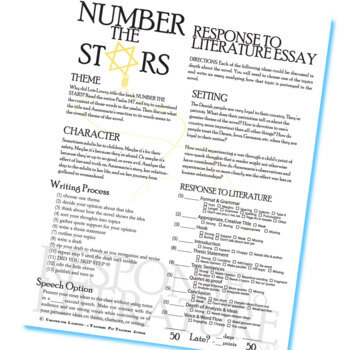NUMBER THE STARS Essay Prompts & Grading Rubrics by
