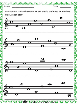 Name The Notes Treble Clef And Bass Clef With Answer Key  Tpt