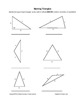 Naming Triangles: Acute/Right/Obtuse AND/OR Scalene