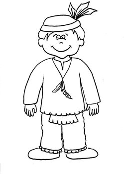 Native American Boy Printable Coloring Sheet by Saved by