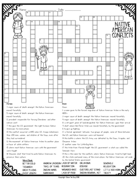 Native American Conflicts Comprehension Crossword by Bow
