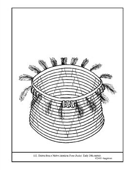 Native American Pomo Basket. Coloring page and lesson plan