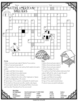 Native American Shelters Comprehension Crossword by Bow