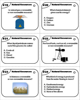 Renewable and Nonrenewable Natural Resources Task Cards by