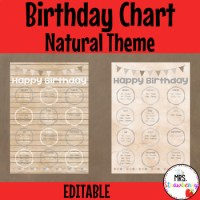 Natural Theme Birthday Chart **Editable** by Mrs