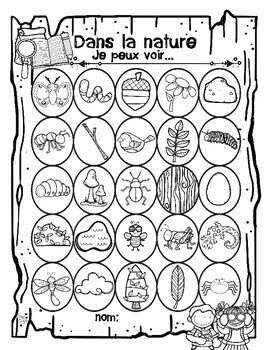 French Nature Walk Scavenger Hunt by Peg Swift French