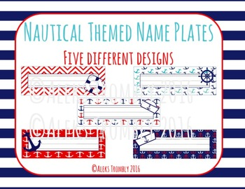 EDITABLE Nautical Themed Desk Name Tags 5 different