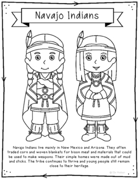 Navajo Indians Coloring Page Craft and Poster, Native