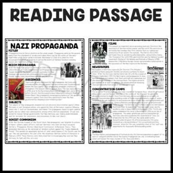 Nazi Propaganda Reading Comprehension Worksheet World War