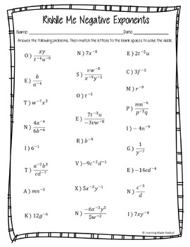 Negative Exponent Riddle Me Worksheet 8.EE.A1 by Learning