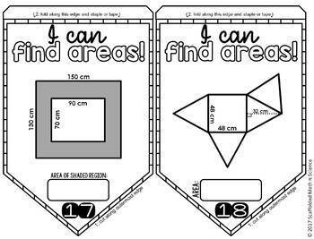 Area of Composite Figures Pennant by Scaffolded Math and
