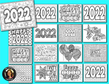 New Year 2019 Coloring Pages for Teens and Adults by