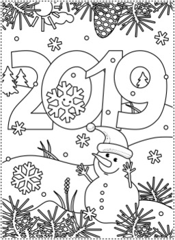 New Year 2019 Find the Differences and Coloring Page, CU
