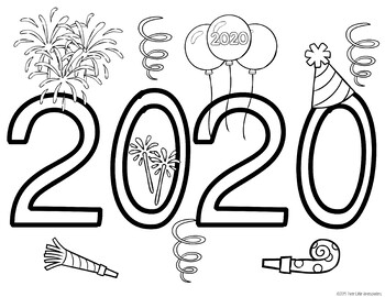 New Year 2019 Bucket List and Coloring Sheet by Three