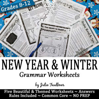 New Year and Winter Grammar Worksheets, NO PREP, Middle and High School