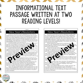 New Year's Resolutions Differentiated Reading Passage