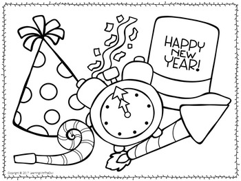 New Years Coloring Pages FREEBIE by Learning with the Owl