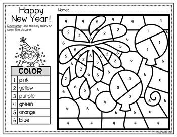 New Years 2020 Activities for Math and Writing, Color by