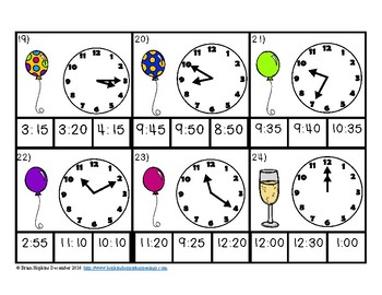 New Years Telling Time to 5 Minutes Clip It by Brian